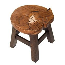 Hand Carved Wood Fox Stool- LOL for sitting on. ;)))♥ wink
