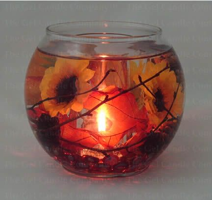 Fall Leaves & Sunflower Gel Candle