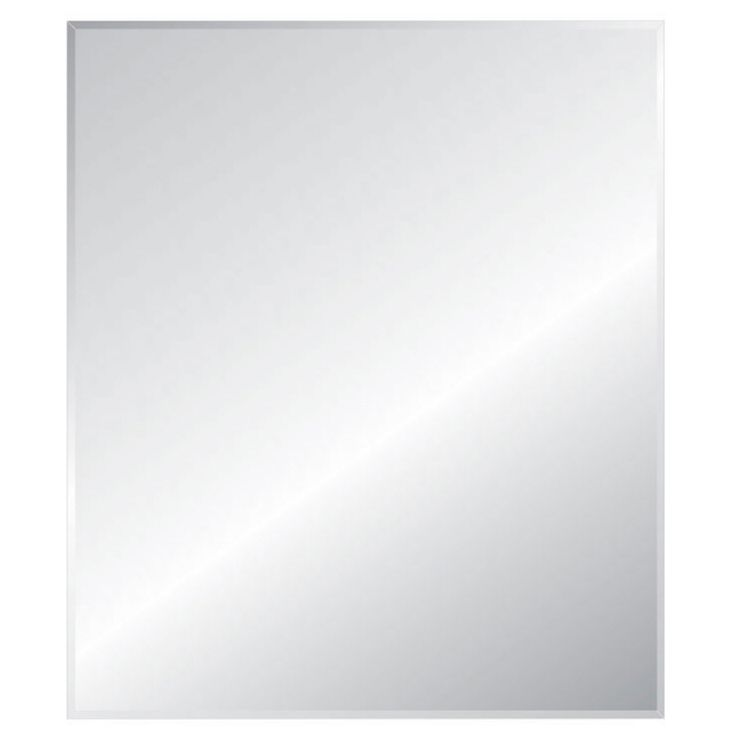 style selections 24in x 36in silver beveled rectangle frameless traditional wall mirror