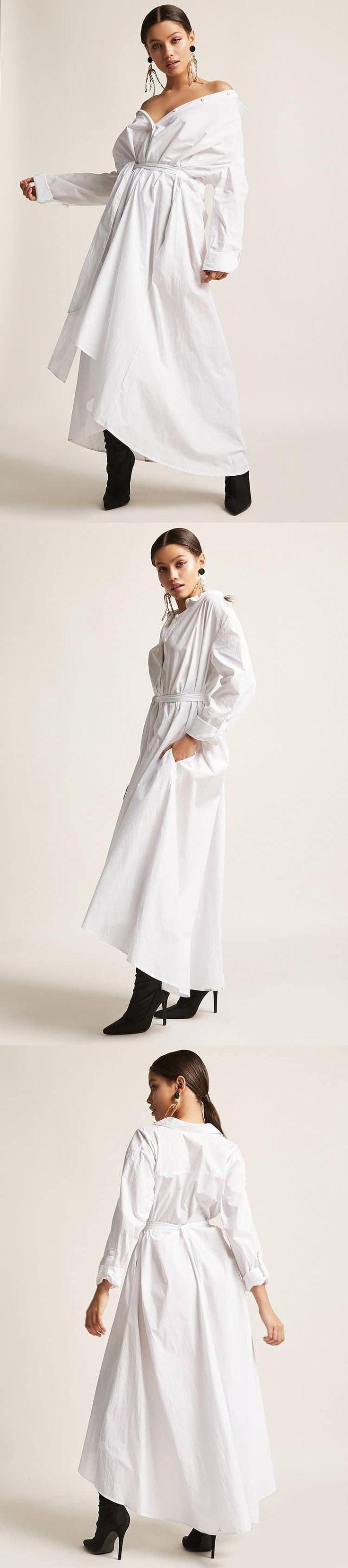 Poplin High-Low Maxi Shirt Dress // 68.00 USD // Forever 21