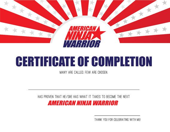 AMERICAN NINJA WARRIOR Certificate of Completion by LaBelleFete