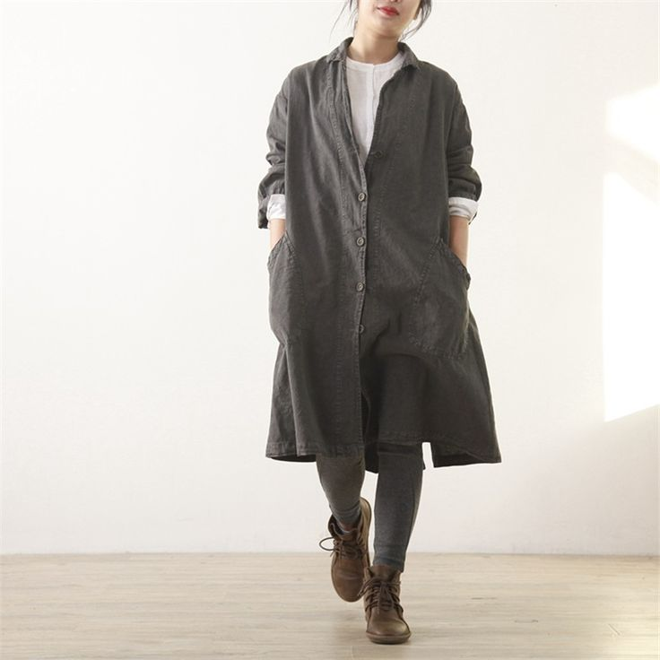 Johnature Women Cotton Linen Coats Trench 2017 Autumn New Long Sleeve Gray Blue Pockets Belt Loose Casual Vintage Trench Coats-in Trench from Women's Clothing & Accessories on Aliexpress.com | Alibaba Group