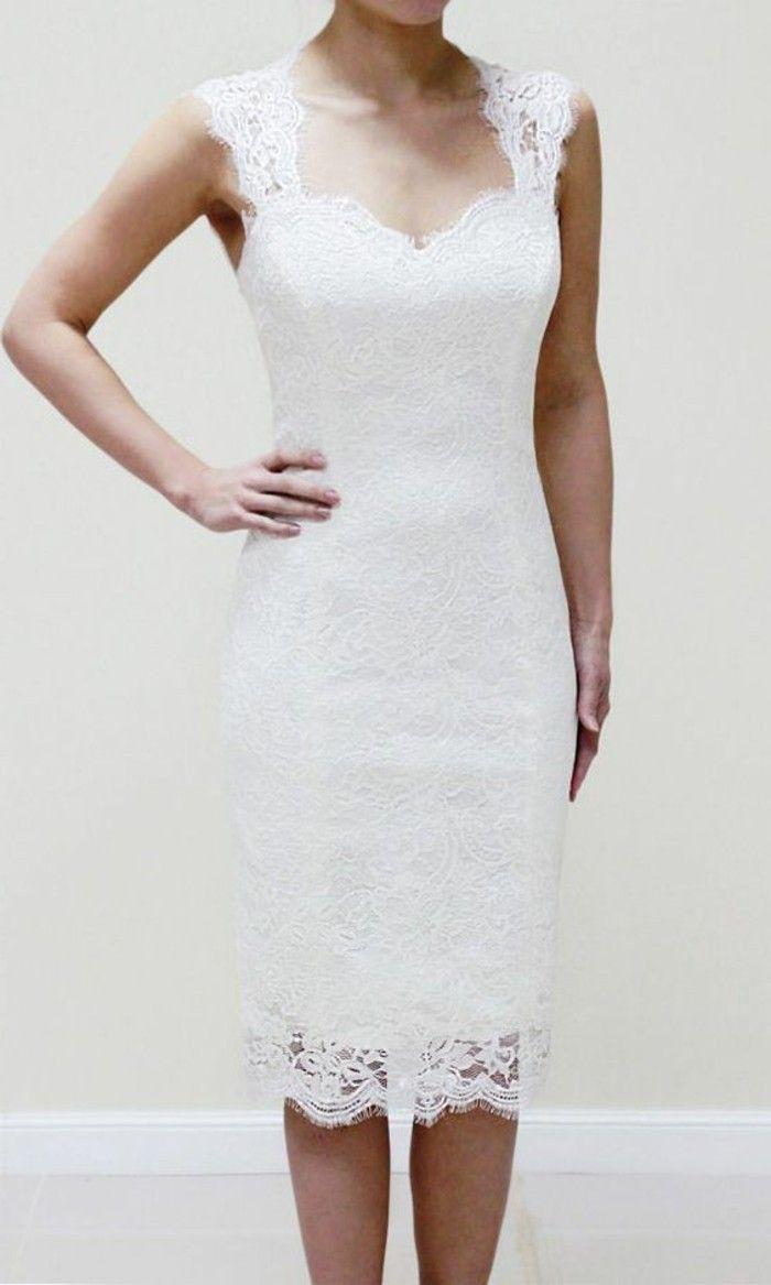 robe de mariée simple courte, robe de mariée chic en dentelle blanc