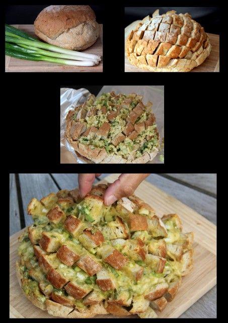 Gevulde broodbol voor in de oven of op de BBQ http://www.simplyrecipes.com/recipes/cheesy_jalapeno_pull_bread/