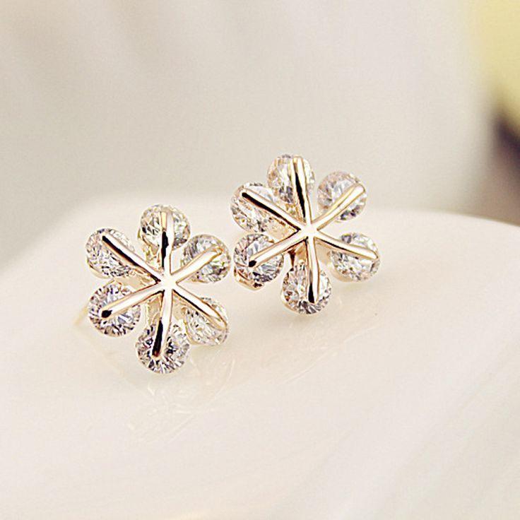Korea Cute Simple Earrings Wild Rhinestone Zircon Snowflake Boutique Earring Accessories Accessories