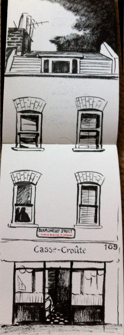 A black pen drawing of the cutest little French restaurant in Bermondsey Street London. Created by Hannah Kokoschka.