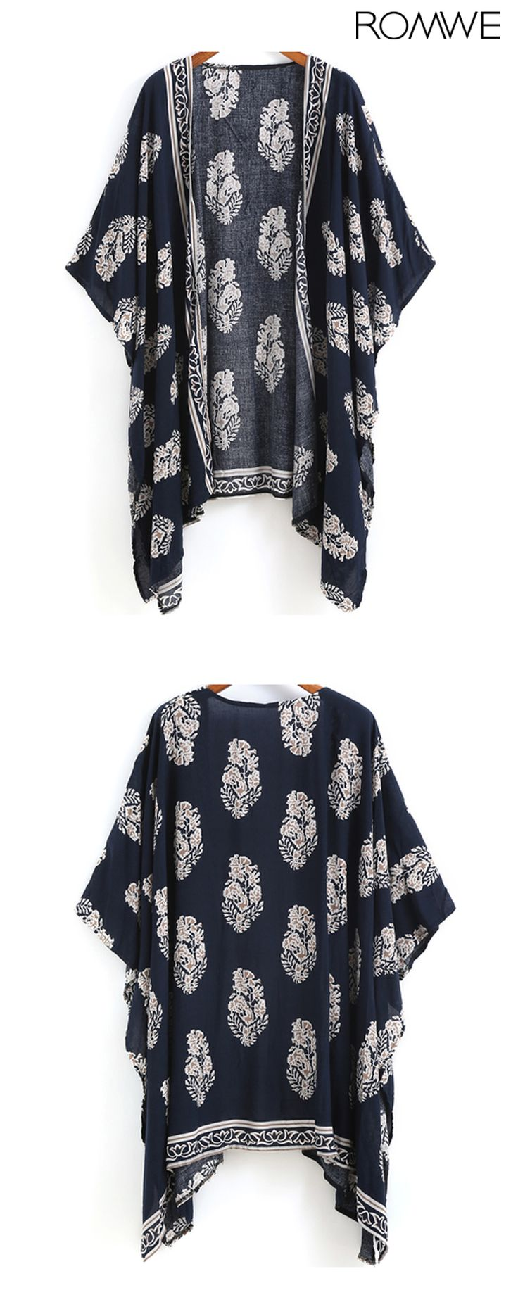 Spring trendy 2016--Navy Vintage Floral Loose Kimono. Come romwe.com. for up to 60% off!