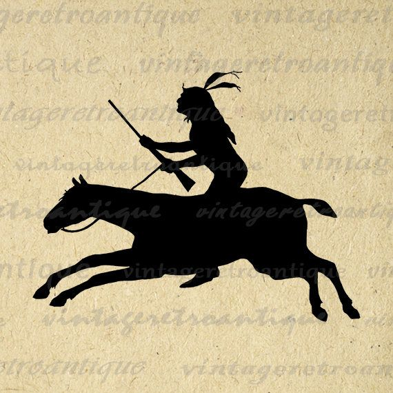 Native American Indian Riding Horse Silhouette Printable Graphic Image Digital Download Vintage Clip Art Jpg Png Eps 18x18 HQ 300dpi No.3334 @ vintageretroantique.etsy.com #DigitalArt #Printable #Art #VintageRetroAntique #Digital #Clipart #Download