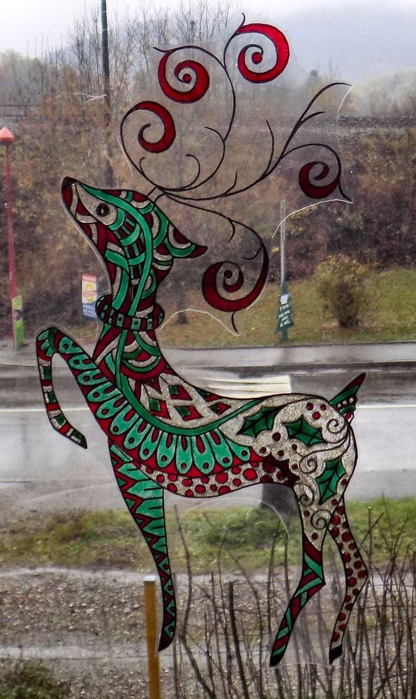 WICOART WINDOW COLOR STICKER STATIC CLING CHRISTMAS NOEL DOODLE RENNE CERF DEER