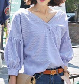 ブラウス・シャツ ふんわかバルーンパフ袖♪フレアーお袖口のストライプ柄シャツ