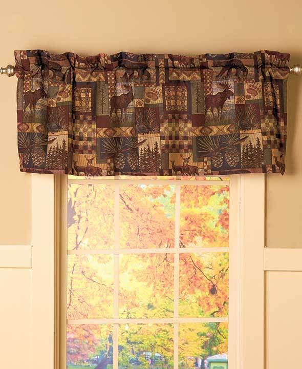 1 Window Valance Rustic Lodge Cabin Moose Deer Tree Pine Cone Home Decor Afoyft