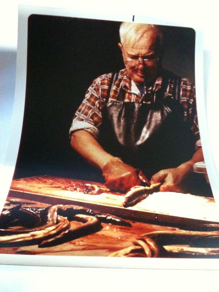 Willy Krauch cleaning eels before heading to the smoker. Using original Danish smoking methods.    www.willykrauch.com