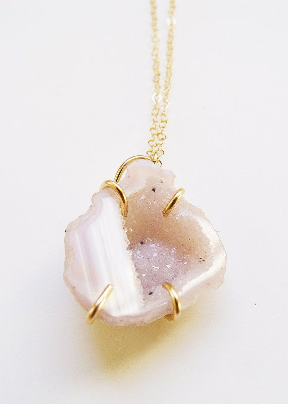 Pink Geode Druzy Necklace  Gold Filled  OOAK by friedasophie