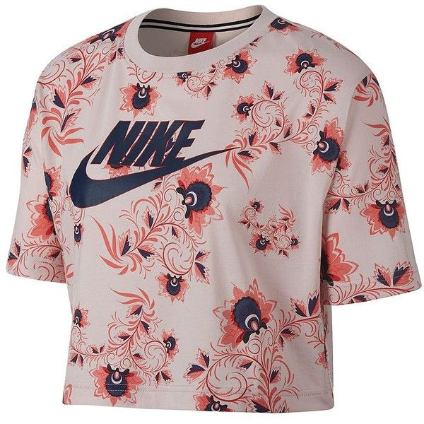 Nike Women's Floral Cotton Cropped Tee ($40) ❤ liked on Polyvore featuring tops, t-shirts, pink, print t shirts, crop tops, short sleeve crop top, floral tee and nike tee