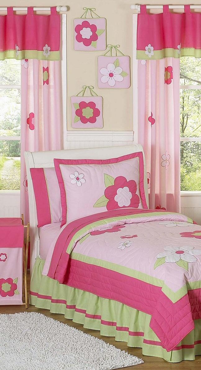 Pink Flower Girls Room Bedding