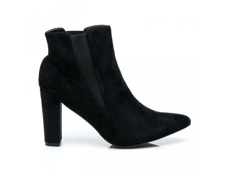 Semišové čierne topánky Tina