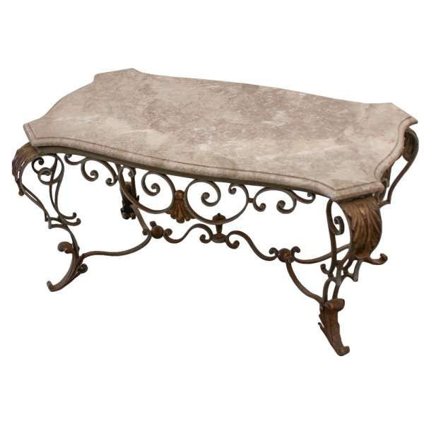 Antique wrought iron marble top coffee 600 600 for Marble and wrought iron coffee table