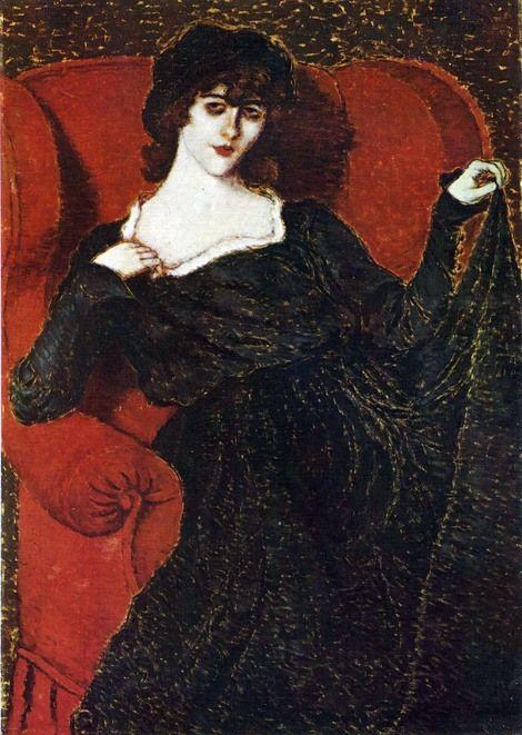 Jozsef Rippl-Ronai, Elza Bányai in a black dress, 1919