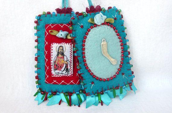 Turquoise Escapulario Felt Necklace by romualda on Etsy, $28.00