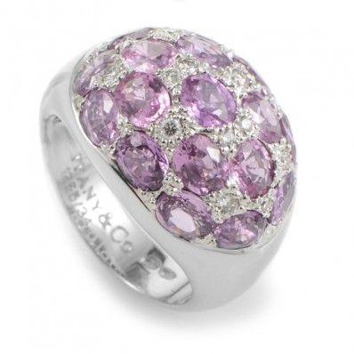 Tiffany & Co. 18K White Gold Pink Tourmaline & Diamond Dome Ring