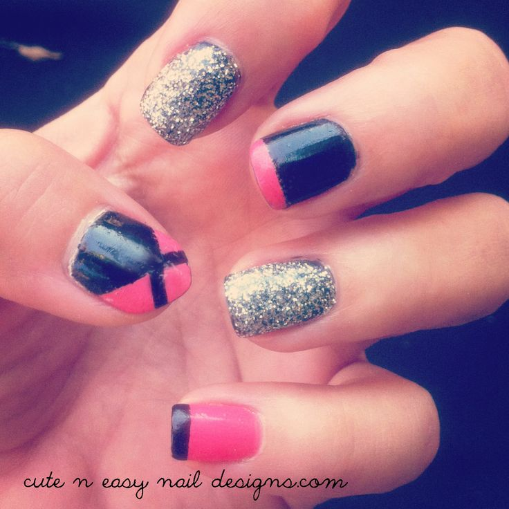 Cute And Easy Nail Design   Black With Hot Pink + Glitter Nails