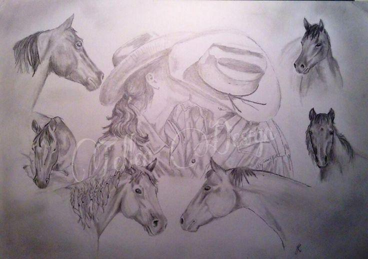 Cowboy love, By Johanna Rappe Art, pencil drawing, portrait
