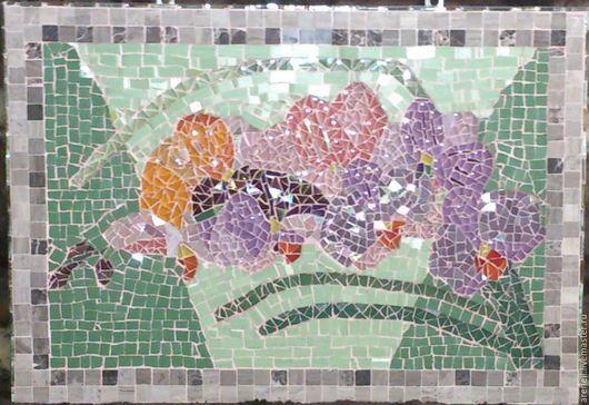 """Панно """"Орхидея"""", сделанное из керамики, каменной мозаики и стеклянной мозаики в мозаичной технике. В каменной раме. С удовольствием сделаю аналог на заказ, точное повторение невозможно. В реальности выглядит намного красивее, чем на фото. Мозаика - это великолепное украшение Вашего дома и прекрасный подарок на любой случай! Материалы:керамика, мозаика. Размер: 50(ш), 30(в)см."""