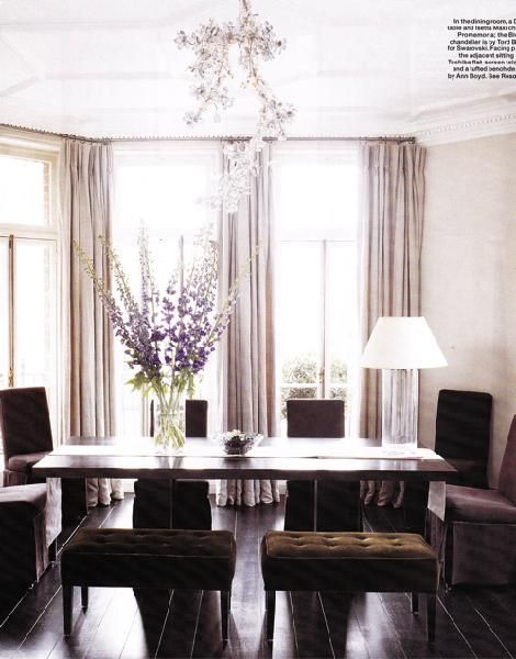 Dining Table Chocolate Brown Velvet Slip Covered Slipper Chairs Tufted Bench Lavender Lilac Crystal Flower Pendant Chandelier Purple