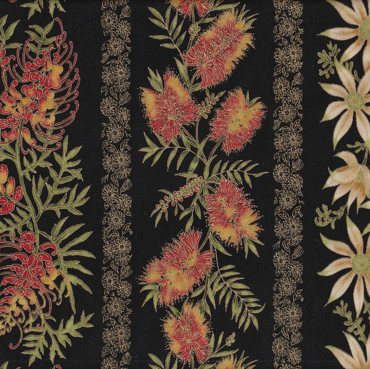 Australian Sun Banksia Grevillea Flannel Flowers Quilting Fabric - Find a Fabric.  Available to purchase in Fat Quarters, Half Metre, 3/4 Metre, 1 Metre and so on.