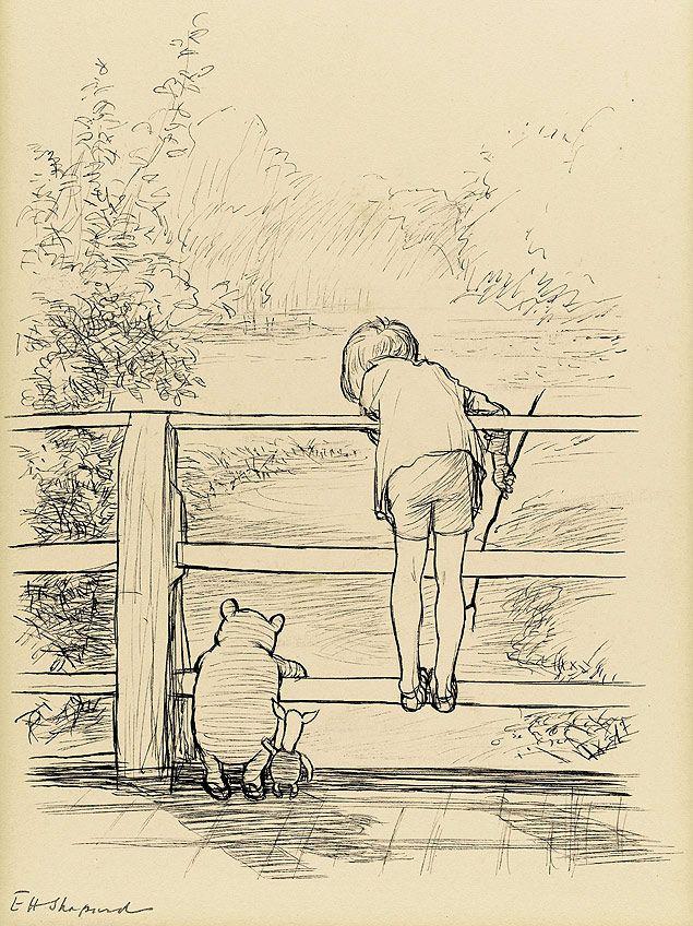 """Primeiro rascunho do """"Winnie the Pooh"""", do ilustrador E. H. Shepard"""