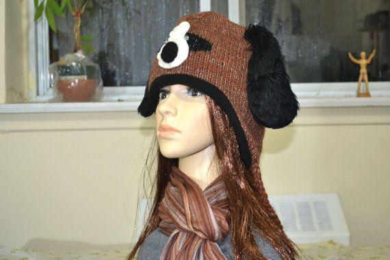 Brown puppy animal hat  high quality animal hat  by HatsMittensEtc