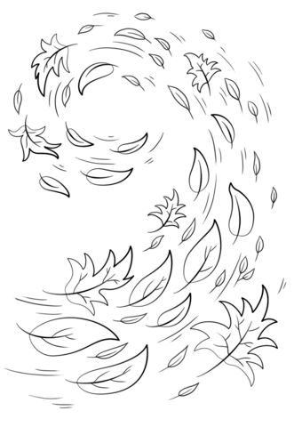 Swirling Autumn Leaves coloring page from Fall category