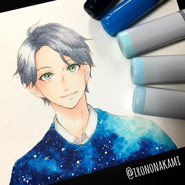 . . 宇宙柄をやってみたいがために描いたミニ獅子尾せんせ。(なのに宇宙柄上手く出来なかった) . 顔とか髪とか、ペン入れの時点からもういろいろ雑過ぎて 20分くらいで描き終わった気がするww . #illust #art #anime #manga #mangaart #comic #illustration #drawing #copic #thankyou #followme #illustrator #yamamorimika #hirunakanoryuusei #絵 #落書き #お絵描き #アニメ #コピック #漫画 #イラスト #少女漫画 #獅子尾五月 #ひるなかの流星 #宇宙柄 #やまもり三香 先生