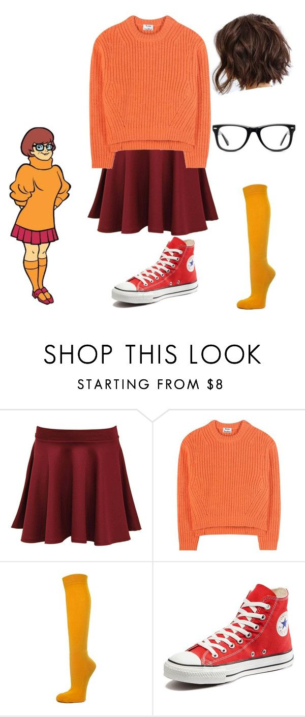 """Velma Cosplay"" by meganhenderson845 ❤ liked on Polyvore featuring Pilot, Acne Studios, Converse and Muse"