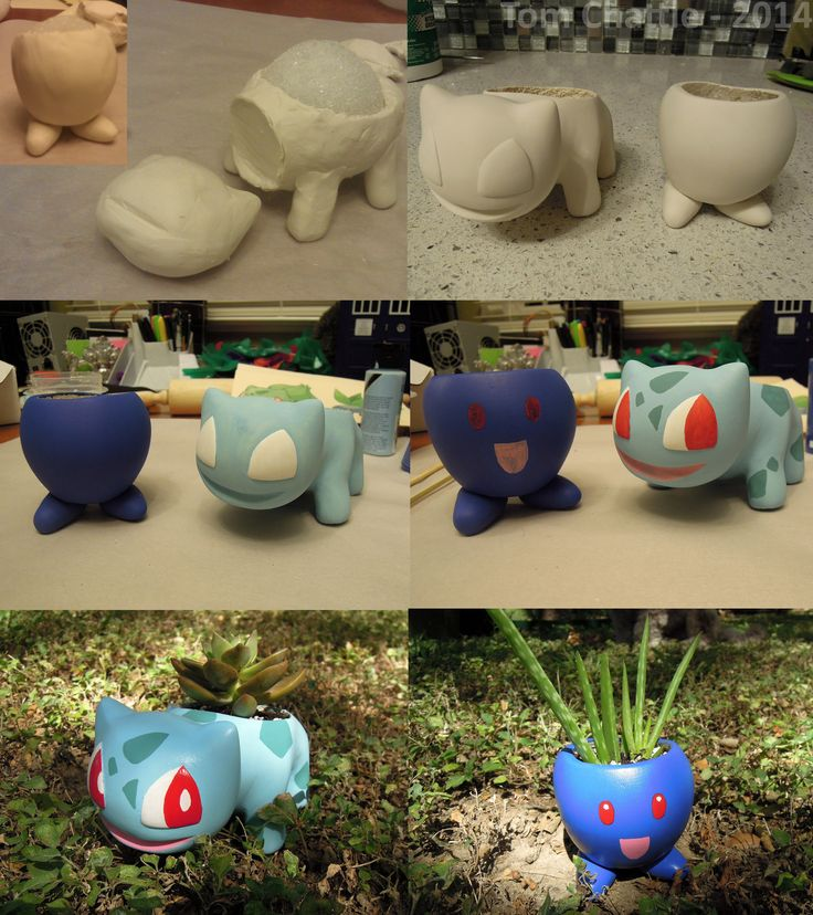 Bulbasaur and Oddish Pokémon planters. Sculpted out of polymer clay around styrofoam balls, sanded, then painted.