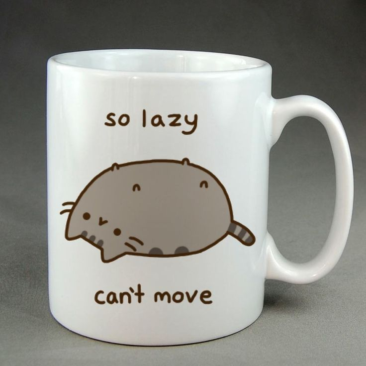 So Lazy Cant Move, pusheen mug, pusheen coffee mug, ceramic, two sided mug