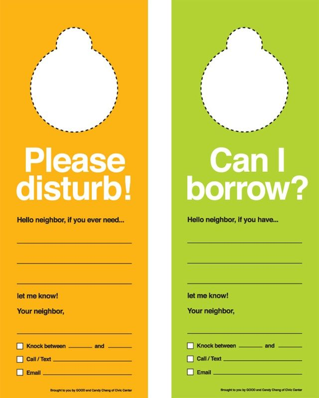 Cute neighbor doorknob hangers for when you need to borrow something. We love this!