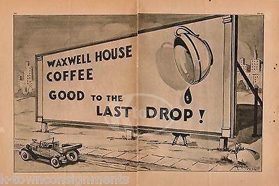 MAXWELL HOUSE COFFEE GOOD TO THE LAST DROP VINTAGE POTTY HUMOR CARTOON PRINT