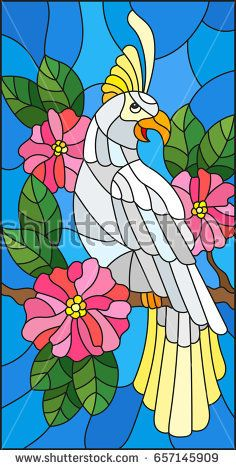 Illustration in the style of stained glass with a beautiful  parakeet sitting on…