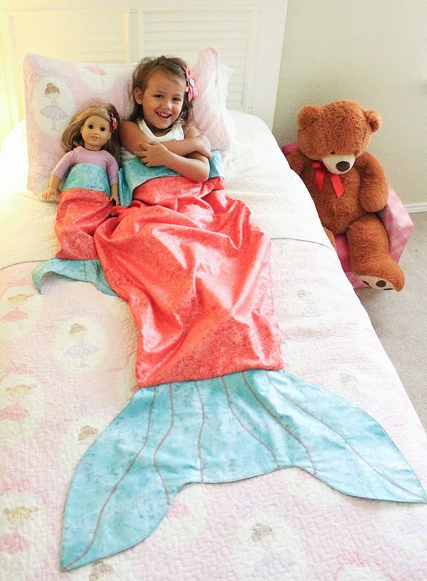 Mermaid Tail Blanket for Child and Doll