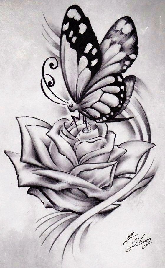 tattoos of roses and butterflies -