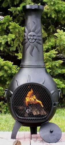 Outdoor chimenea fireplace sun in charcoal finish - Chimenea gas natural ...