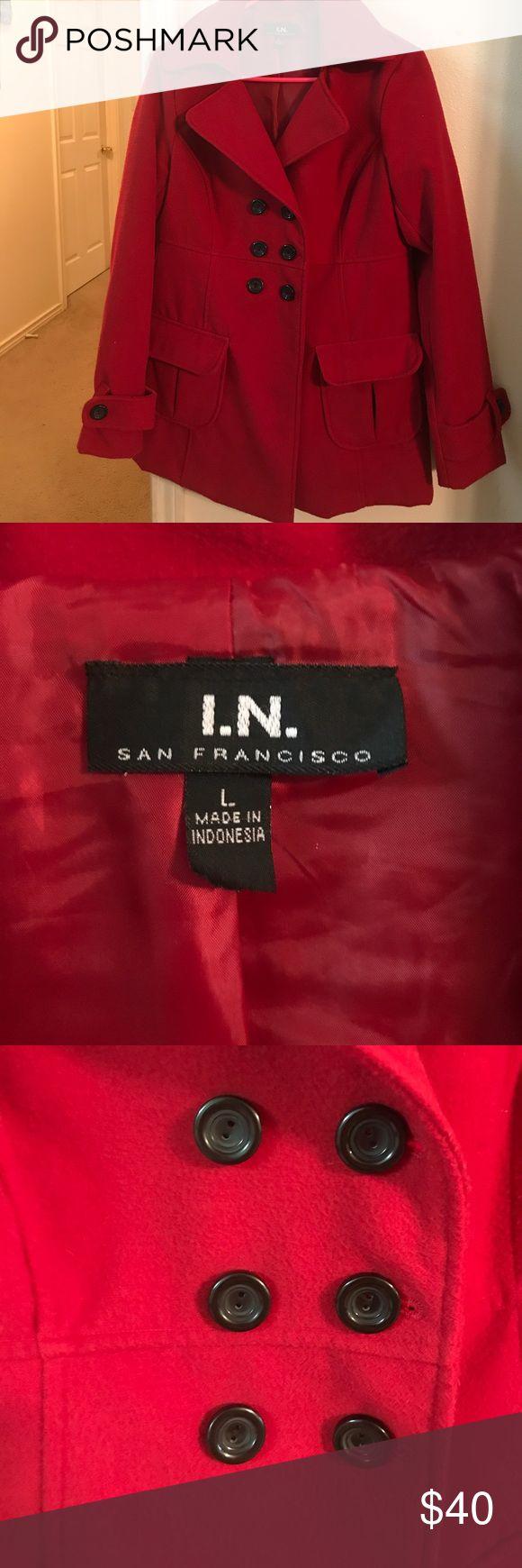In San Francisco Pea Coat Beautiful red pea coat perfect for winter I.N. San Francisco Jackets & Coats Pea Coats
