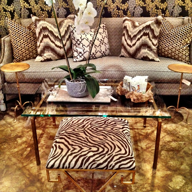 Love Bench Under Table Idea And Fun Animal Prints Brass Coffee Greek Ottoman Fabric David Hicks Lee Jofa Boxwood Interiors Houston