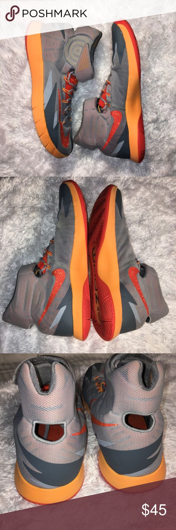 Men's NIKE zoom orange & gray hyper rev sneaker Authentic NIKE ZOOM Hyperrev basketball shoes. Men's size 13 Grey orange mango color Preowned but lightly used, almost new! Insole logo is starting to rub off. No original box My home is CLEAN, SMOKE Free.  #nike #zoom #orange #men #shoes #sneakers #basketball Nike Shoes Sneakers
