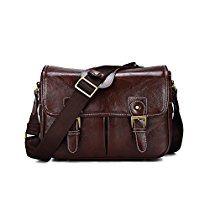 DSLR Camera Bag Waterproof PU Leather Travel Bag Shoulder Bag for Canon Sony Nikon Canon Olympus DSLR Camera (Coffee)