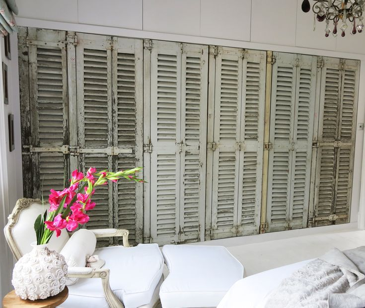 My new built in wardrobe featuring original french vintage shutters. #white #bedroom #parkinprimrose www.parkinprimrose.com