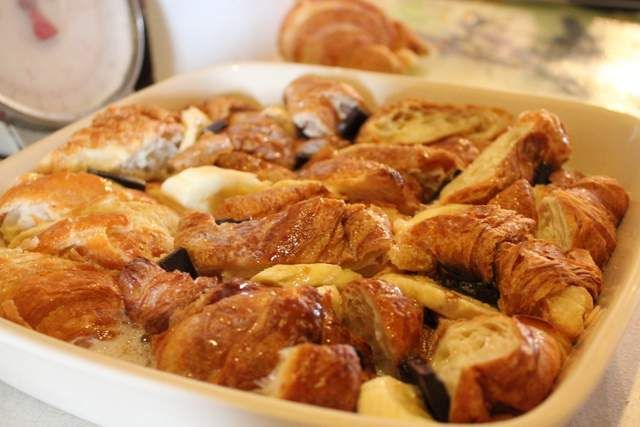 Croissant Bread Pudding with Banana & Chocolate / Delicieux