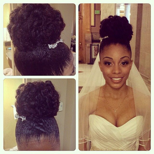 Beautiful Natural bridal no heat undo! Curlformers to stretch curls then mold hairline. Tiedown. Then pin curls. by Patience B. Moore @juelsalon