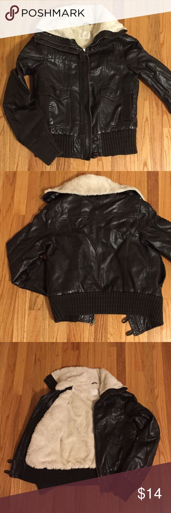 Sweet Cruelty-Free Bomber Jacket This pleather jacket is full Bomber style and totally lined with soft white faux fur. Dark brown, worn effect leather (like a broken in baseball mit!) Missing one button but not necessary for use or easily detectable. Fits size 0-4 best. Xhilaration Jackets & Coats